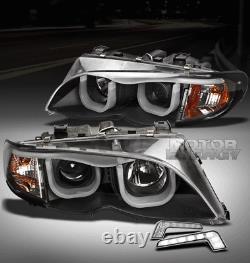 02-05 Bmw E46 3-series 325i 330i 4dr Noir Projecteur Head Light With3d Drl Led Kit