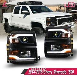14-15 Pour Chevy Silverado Black Projector Headlights Led Drl Light Bar Pair