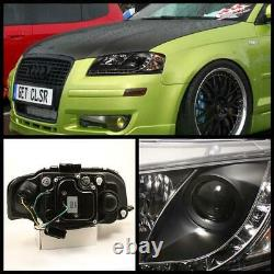 2006-2008 Audi A3 Black Projector Phares Avec Daytime Drl Led Running Lights