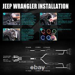 90w Cree Led 7 Phares Bluetooth Rgb Halo Ring Pour 97-18 Jeep Wrangler Jk