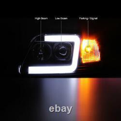 97-03 Ford F150 Neon Tube Led Drl U-bar Black Projector Lampe De Phare De Phare