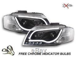 Audi A3 8p 2003-2008 R8 Noir Led Light Bar Drl Diable Eye Phares Projecteur