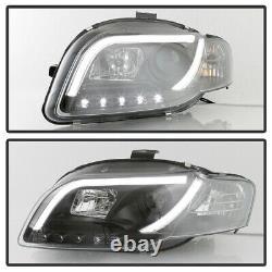 Black 2006-2008 Audi A4 R8 Led Strip Drl Lumières Projecteur Phares Projecteurs