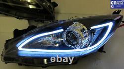 Black 3d Drl Led Projecteur Phares Mazda 3 09-13 Berline & Hatch Headlight