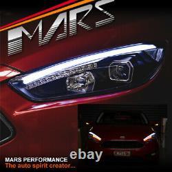 Black 3d Led Drl Projecteur Phares Et Indicateurs Led Pour Ford Focus Lz 15-18