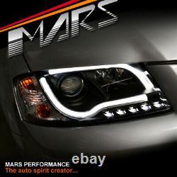 Black 3d Led Stripe Drl Projecteur Phares Pour Audi A3 8p 03-08 Pré Mise À Jour
