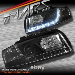 Black Day Time Led Drl Projecteur Phares Pour Audi A4 B6 00-05 Sedan Avant