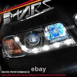 Black Day-time Led Drl Projecteur Phares Pour Audi A4 B5 95-98 & 99-01 4d 5d
