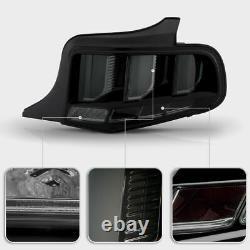 Black Fumée Sequential Tube Tail Signal De Frein Léger Pour 2010-12 Ford Mustang