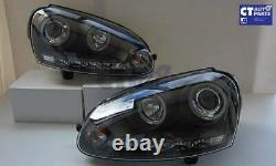 Black Led Drl Angel Eyes Projecteur Phares Pour 03-08 Vw Golf V Tdi Gti
