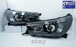Black Led Drl Projecteur Head Lights Squeential Blinker Pour 15+ Toyota Hilux Revo