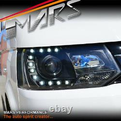 Black Real Drl Led Projecteur Phares Pour Volkswagen Vw Transporter T5 11-15