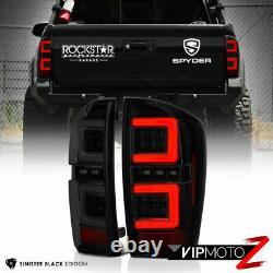 Black Smoke Tron Style Neon Led Tail Lumières Lampe De Frein Pour 16-21 Toyota Tacoma