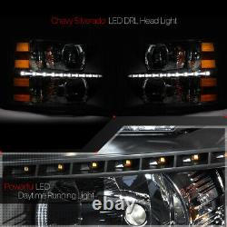 Black/clearled Strip Drlheadlight Light Lamp Amber Signal Pour 07-14 Silverado