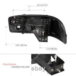 Black/smoke Led Light Bar Drl Headlight+bumper Pour 01-07 Sierra/yukon Denali