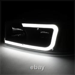 Black/smoke Led Light Bar Drl Headlight+bumper Pour 99-07 Sierra/yukon Classic