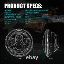 Bluetooth Rgb Halo 90w Cree Led 7 Phares Pour 97-18 Jeep Wrangler Jk