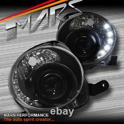 Feux De Tête À Double Faisceau À Double Faisceau Led Noir Drl Day-time Pour Fiat 500 500c 08-13