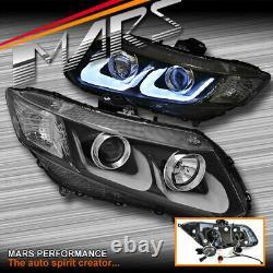 Feux De Tête De Projecteur 3d Drl Noirs Pour Honda Fb CIVIC Gen 9e Berline 4 Portes 12-16