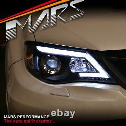 Feux De Tête Noirs De Projecteur De Jour De Led Drl Pour Subaru Impreza 07-13 Rs Wrx Sti