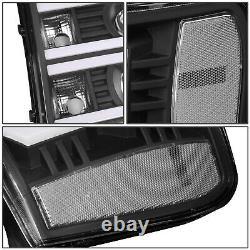 Fit 07-14 Gmc Sierra Custom Led U-light Bar Drl Projecteur Phare Noir/clair