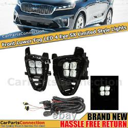 Fog Lights Led Avec Switch Wire Harness Black 4 Eyes Drl Pour Kia Sorento 19+