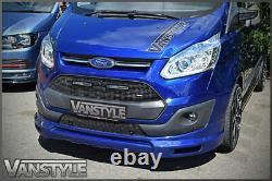 Ford Transit Custom Black Front Mesh Grille - Led Drl Lights Not Fog Chrome Lamp