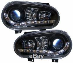 Golf Mk4 Noir Vw Drl Led Diable R8 Eye Design Projecteur Phares Avant