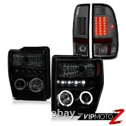 Halo Drl Sinister Black Phares De Fumée Led Tail Lights Ford F250 F350 08 09 10
