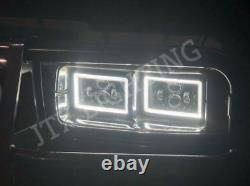 Jtx, 4 Light Combo, Black Led Headlights, 4x6, White Halo, Flashes Amber