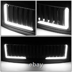 Led Drl L-l-light Barfor 08-10 Ford F250-f550 Glossy Vertical Hood Grille