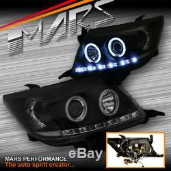 Led Drl Noir Ccfl Angel-yeux Projecteur Tête Lumières Pour Toyota Hilux Vigo 11-15
