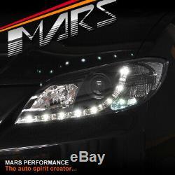 Led Drl Noir Projecteur Tête Lumières Pour Mazda 3 Bk 2003-2009 4 Portes Sedan