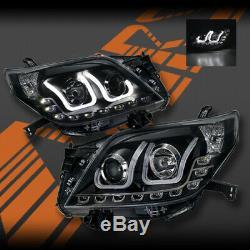 Led Noir U Forme Drl Projecteur Tête Lumières Pour Toyota Land-cruiser Prado 09-13