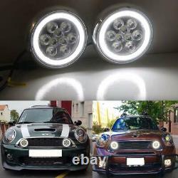 Led Rally Light Kit Pour Mini Cooper R50 R52 R53 01-06 Black Shell White Halo Drl