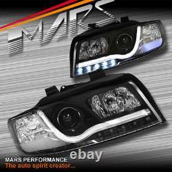 Lumières De Tête De Projecteur De Projecteur De Drl De Bande 3d Noires Pour Audi A4 B6 Sedan Avant 01-05