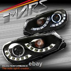 Lumières De Tête De Projecteur De Projecteur De Faisceau De Drl Noires Drl Ccfl D'oeil Dual Beam Pour Vw Golf VI Mk-6