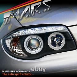 Lumières De Tête De Projecteur Noires De Led Drl 3d D'ange-yeux Pour Bmw E81 E82 E87 E88