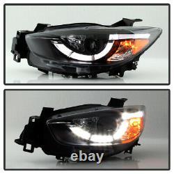 Newest Design Led Drl 2013-2015 Mazda Cx5 Cx-5 Black Proejctor Head Lights Set