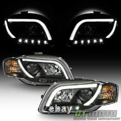 Noir 2006-2008 Audi A4 R8 Led Strip Drl Lights Projecteur Phares Phares Phares