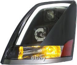 Nouveau 2004-2015 Volvo Vn Vnl Black Led Bar Drl Headlight + Fog Light Combo Set