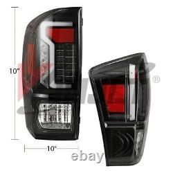 Oe Style Fit 16-21 Toyota Tacoma Drl Tube De Frein Led Tail Lumières Noir Clair