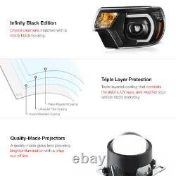 Optic Neon Tube Drl Pour 12-15 Toyota Tacoma Black Projector Lampe De Phare À Led