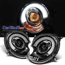 Paire Mini Cooper Projecteur Led Barre Drl Phare Noir 07-13 R56 Lampe Frontale