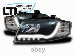 Phares Avant Led À Tube Léger En Noir Drl Look Adapté Pour Audi A4 B6 00-04