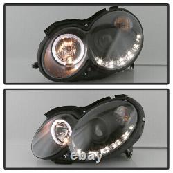 Phares De Projecteur Mercedes Benz W209 Noir 2003-2009 Avec Led Drl Running Light
