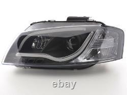 Phares Led À Tube Léger En Finition Noire Drl Look Pour Audi A3 8p 8pa 03-08