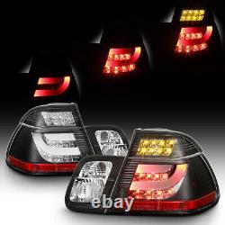 Pour 02-05 Bmw E46 Série 3 4dr Tail Light Black Led Bar Strip Brake Signal Pair