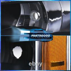 Pour 03-07 Chevy Silverado Led Drl Logement Noir Ambre Phares + Pare-chocs Lampes