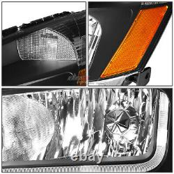 Pour 03-07 Honda Accord Black/ambre Side Corner+led Drl Phare De Phare